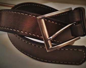 Bull leather belt