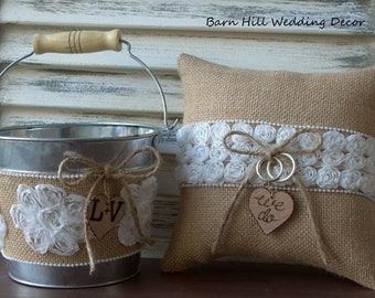 Ring Bearer Pillow, Flower Girl Basket, Wedding Ring Pillow, White Rose, Shabby Chic, Rustic Wedding
