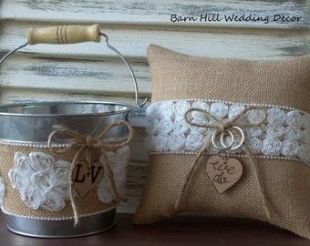 Flower Girl Basket, Ring Bearer Pillow, Rustic Wedding, White Rose, Shabby Chic, Burlap