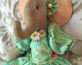 Handmade Elephant Doll, Art Doll Elephant, Handmade Primitive Elephant, Primitive Elephant, Elephant Doll, Home Decor, OOAK doll