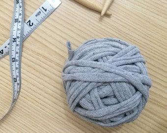 Gray 100% Cotton T-Shirt Yarn; recycled yarn, upcycled yarn, T-Shirt yarn, tape yarn, cotton yarn, chunky yarn, thick yarn, gray yarn