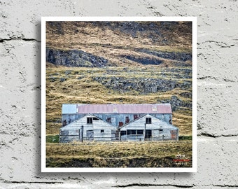 Fine Art Print, Rustic Weathered Wood Farm at Cliff Base in Rural Iceland