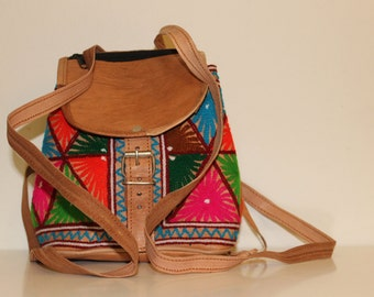 Embroidered handmade leather backpack