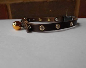 Brown Handmade Leather Cat Collar with Rhinestones and Bell