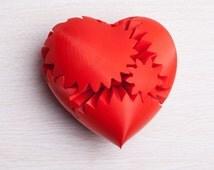 3d printed Heart // Gearpunk Heart // 4 inches (or) 10 cm // Steampunk Gift