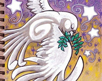 Peace Christmas Dove Original Art