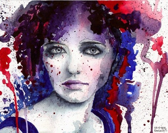 Portrait of a girl. Watercolor painting, original.