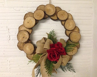 Decorated wood slice wreath