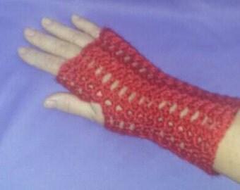 Crochet fingerless wrist warmers, red