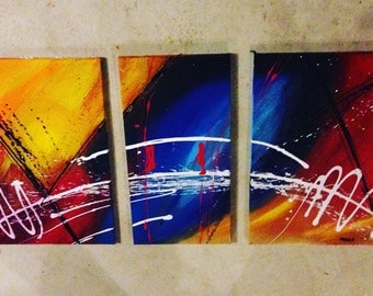 Abstract Acrylic paint set of 3 canvas