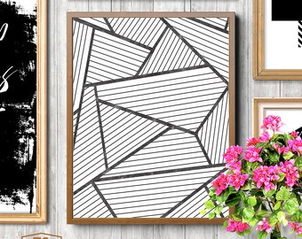 Affiche scandinavia black and white scandinavian pattern print nordic design minimalist art geometric printable art abstract prints