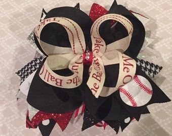 Baseball bow| Black, red, white bow| big bow, birthday bow, hairbow, spirit bow,
