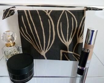 Striking Chocolate Brown Tulip Design Cosmetics/Make-Up Bag