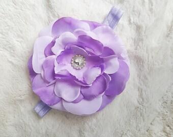 Baby headband- flower headband- toddler headband- girls headband- lavender headband- big bow Headband- big flower- hair accessories