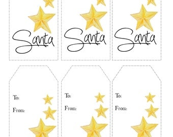 Instant Printable Christmas Gift Tags, Holiday Tags  - From Santa - Instant Download