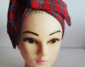 Red Tartan Pin Up Hair Tie