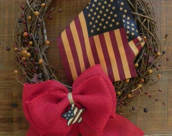 Tea Stained American Flags on Grapevine, USA Wreath, American Flag Wreath, Americana Wreath, Red White and Blue Wreath, 4th of July