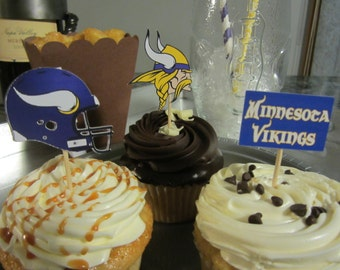 Cupcake toppers, party supplies, Minnesota Vikings, football, sports theme