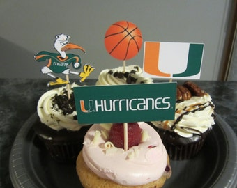 Cupcake toppers, party supplies, Miami Hurricanes, basketball, sports theme, NCAA, March Madness, college
