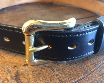 "Traditional Fully Lined Handmade Leather Belt SIZE 38"" / Black"
