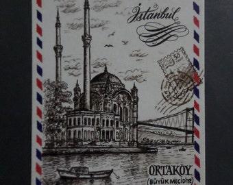 Istanbul Ortaköy Mosque Turkish Postcard