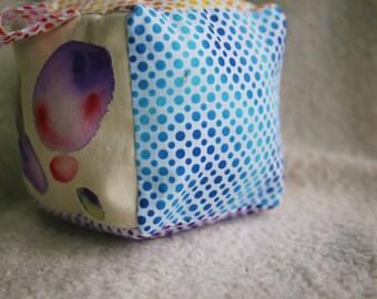 Rainbow Drops Baby Block, Hand Painted Baby Block, Rainbow Baby Toy