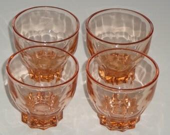 Vintage Amber Glass Whiskey / Bourbon Shot Glasses