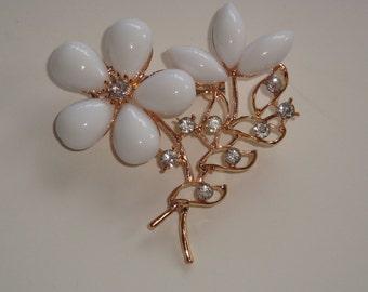 White Glass Flower Pin with Rhinestones