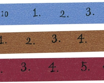 Classiky 3 Colors Number Washi Tape Set