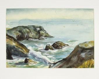 ORIGINAL painting, watercolor, rocks, ocean, waves, nature, storm, gift art, 18x24/mounted 22x28