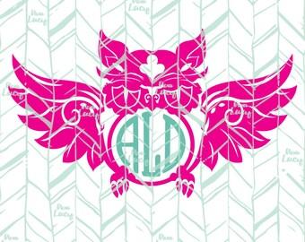 Owl, Monogram SVG, Owl SVG - Digital Download Cricut File