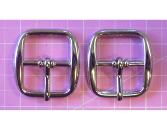 Buckles in  Nickel 3/4 in with Centre Bar - Set of 2