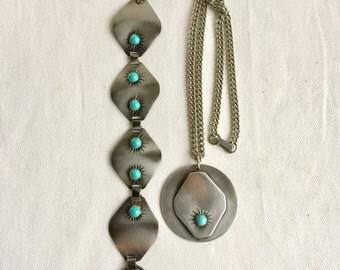 Vintage Silver tone with Blue Stone Pendant and Bracelet Set
