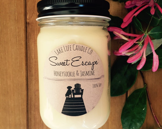 Sweet Escape Honeysuckle and Jasmine Handmade Soy Candle: Lake Life Candle Co. Made in WI