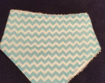 Aqua Blue Chevron Baby Bandanna Bib With Terrycloth Backing