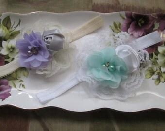 Christening baptism mini rosettes flowers- Elegant