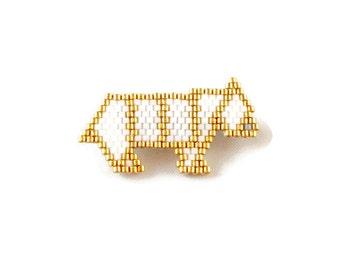 Bear brooch fleece origami Miyuki beads / white gold
