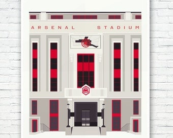 Arsenal Stadium: Art Deco London Illustrated poster print. Matte and Giclee Art Prints in A3 or A2 sizes. Wall Art, Home Decor, London Print