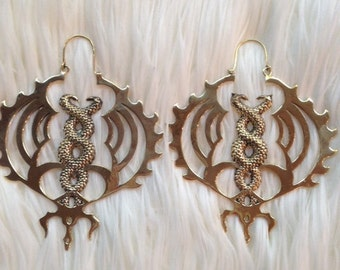 Snake Earrings- Kundalini Earrings- Shiva Earrings- Brass Snake Earrings- Tribal Earrings