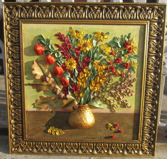 Ribbon embroidery picture wall art tumn bouquetfall in the
