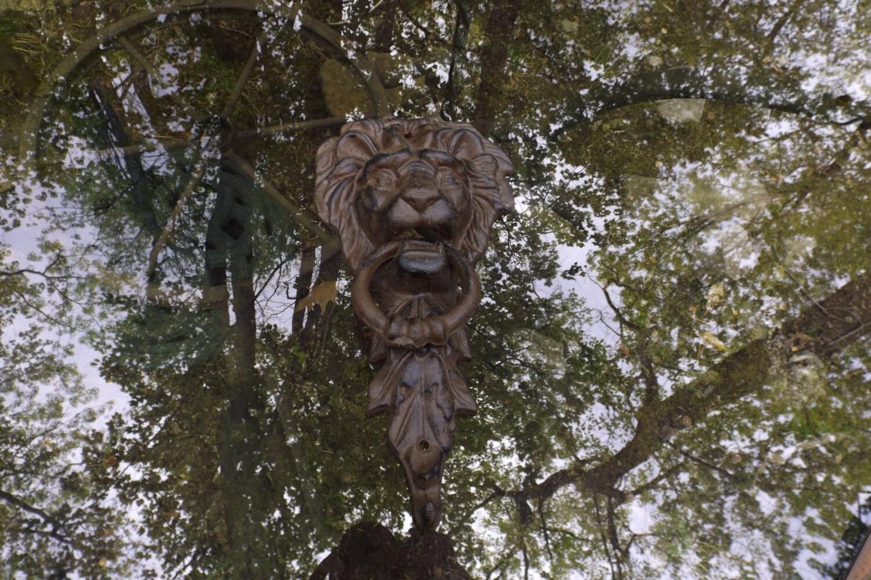 Large vintage cast iron door knocker with lion head and hook - Large lion head door knocker ...