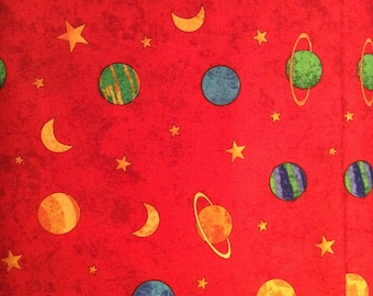Northcott Fabric, Blast off Series, red, yellow, blue,  planets, space