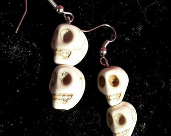 White Skulls Earrings