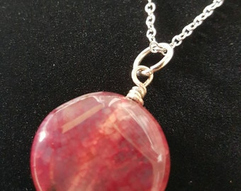 Pink/Red Agate Necklace