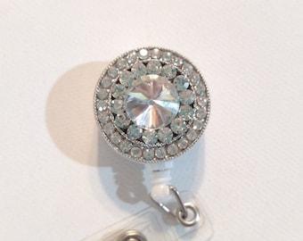 adorable diamond badge reel, ID badge holder, retractable badge clip, nurse bling