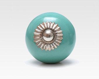 Hand painted ceramic knob, turquoise, vintage