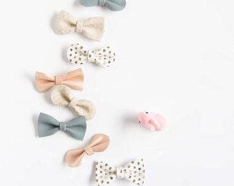 Leather Hair Bow Crocodile Clip or Nylon Headband Spring Mix Grapefruit Pink Shimmer, Gold Polka Dot, Dove Gray, Biege Quatrefoil Baby Bow
