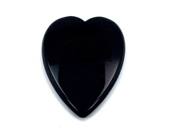 28x21 mm Flatback Heart Shaped Black Onyx Gemstone