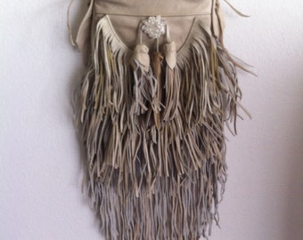 Real handmade crossbody bag from soft & genuine leather with elements of fashionable leather fringe new women's beige color bag size-small.