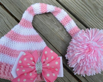 Crochet pink and white elf hat
